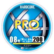 Шнур Duel Hardcore X4 PRO 200м #1.0 нагр. 8кг 0.17мм Yellow