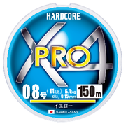 Шнур Duel Hardcore X4 PRO 150м #0.8 нагр. 6.4кг 0.15мм Yellow