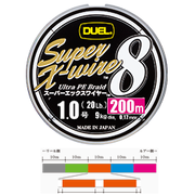 Шнур Duel SUPER X-WIRE 8 200 м #1.0 нагр. 9 кг 5color