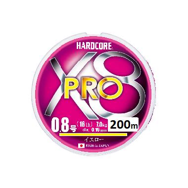 Шнур Duel Hardcore X8 PRO 200м #0.8 нагр. 7кг 0.15мм Yellow