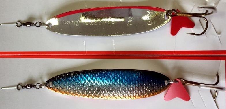 Блесна DAM Slim Standart 24гр черно-сине-серебро-оранж серебро с красной полосой